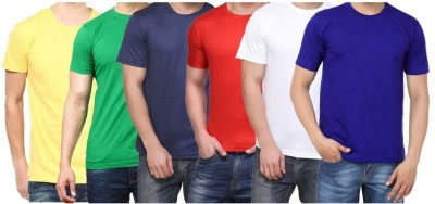 Sparkk Solid Men's Round Neck Multicolor T-Shirt