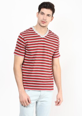 UV&W Striped Men's V-neck Red T-Shirt