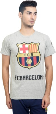 FC Barcelona Printed Men's Round Neck Grey T-Shirt