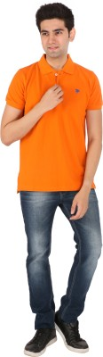 Tasho Zaara Solid Men's Polo Neck Orange T-Shirt