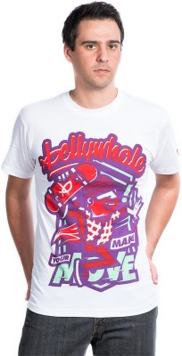 Bellywhale Graphic Print Men's Round Neck White T-Shirt