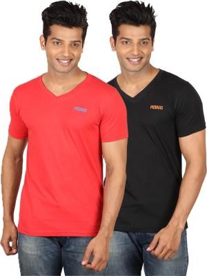 Poshuis Solid Men's V-neck Black, Red T-Shirt