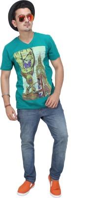 AFLASH Printed Men's V-neck Green T-Shirt