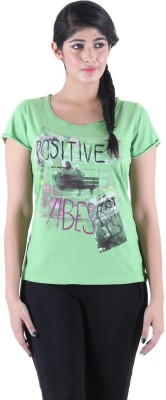 Kotty Printed Women's Round Neck Green T-Shirt