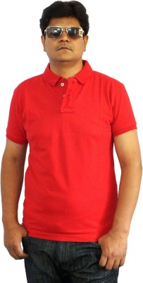 Scottland Solid Men's Polo Neck Red T-Shirt