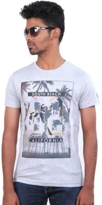 S CUBE Printed Men's Round Neck Grey T-Shirt