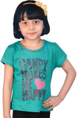 TSG My Kid Printed Girl's Round Neck Green T-Shirt