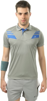 Stag Printed Men's Polo Neck Grey, Blue T-Shirt