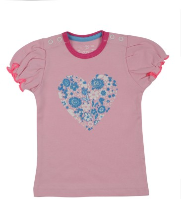 Buzzy Printed Baby Girl's Round Neck Pink T-Shirt
