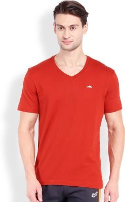2go Solid Men's V-neck Orange T-Shirt
