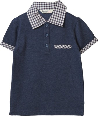 Beebay Solid Boy's Polo Neck Dark Blue T-Shirt