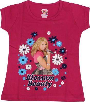 Romano Graphic Print Girl's Round Neck Pink T-Shirt