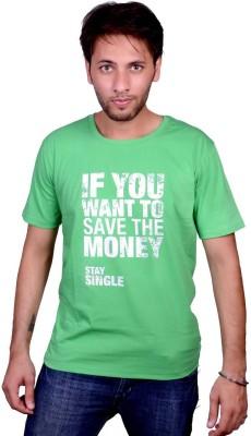Swadesistuff Printed Men's Round Neck Green, White T-Shirt