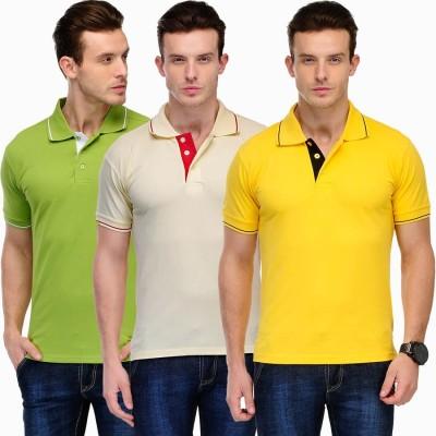 Scott International Solid Men's Polo Green, Yellow, Beige T-Shirt