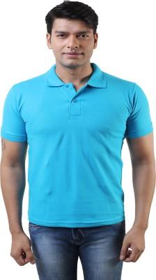 Lee Mark Solid Men's Polo Neck Blue T-Shirt