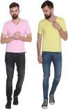 Stylogue Solid Men's V-neck Multicolor T...