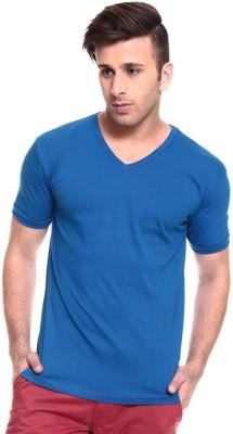 Lowcha Solid Men's V-neck Blue T-Shirt