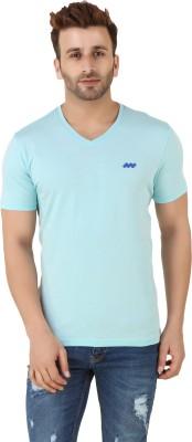 Spunk Solid Men,s Round Neck Blue T-Shirt