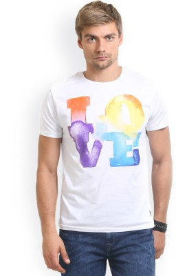 HW Printed Men,s Round Neck White T-Shirt