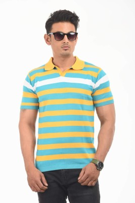 AMX Striped Men's Polo Neck Yellow T-Shirt