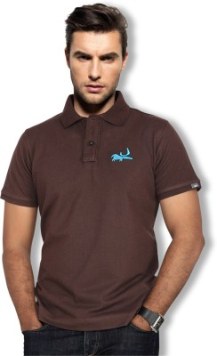 Erdferkel & Wobbegong Solid Men's Polo Neck Brown T-Shirt