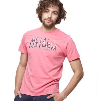 American Swan Printed Men's Round Neck Pink T-Shirt