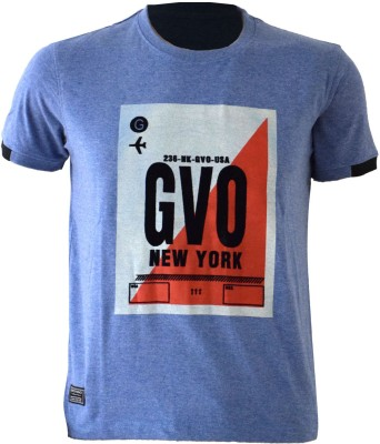 Groviano Printed Men's Round Neck Blue T-Shirt