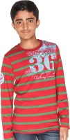 Menthol Boys Striped T Shirt(Red, Pack of 1)