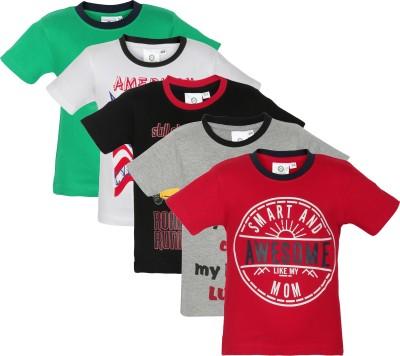 MamaMia Printed Boy's Round Neck Black, Red, White, Grey, Green T-Shirt