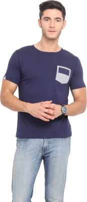 Northern Lights Solid Men's Round Neck Blue T-Shirt