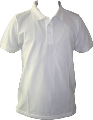T10 Sports Solid Boy's Polo Neck White T-Shirt