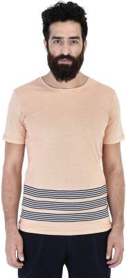 Mr Button Solid Men's Round Neck Orange T-Shirt