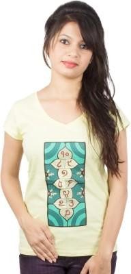 Pulpypapaya Printed Women's V-neck Yellow T-Shirt