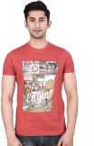 ORKO Printed Men's Round Neck Red T-Shir...