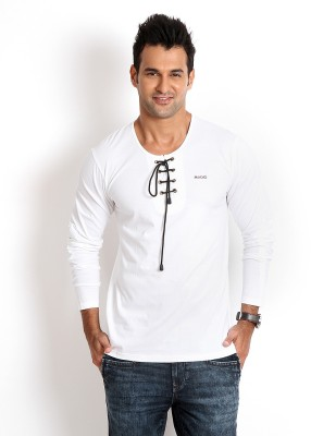 Rodid Solid Men's Henley White T-Shirt
