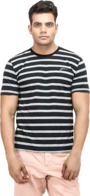 Yuvi Striped Men's Round Neck Black T-Shirt
