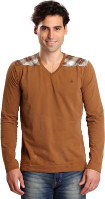 Bombay High Solid Men,s V-neck Brown T-Shirt