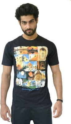 Geesa Graphic Print Men's Round Neck Black T-Shirt