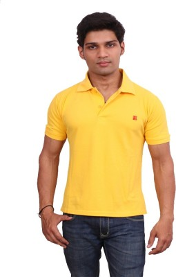 Leonardi Solid Men's Polo Neck Yellow T-Shirt