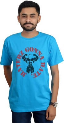 Swag Theory Printed Men's Round Neck Light Blue T-Shirt