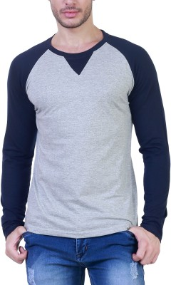 Unkonventional Solid Men's Round Neck Grey, Blue T-Shirt