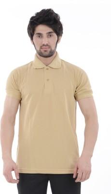 Burdy Solid Men's Polo Neck Beige T-Shirt