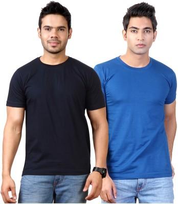 Top Notch Solid Men's Round Neck Dark Blue, Blue T-Shirt