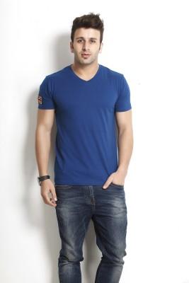 Gritstones Solid Men's V-neck Blue T-Shirt