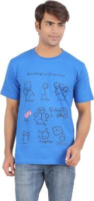 Griteez Printed Men's Round Neck Blue T-Shirt
