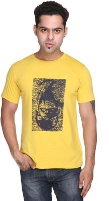 Purys Printed Men,s Round Neck Yellow T-Shirt