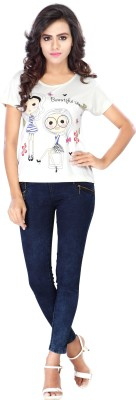 Urban Fashion Bank Printed Women's Round Neck White T-Shirt