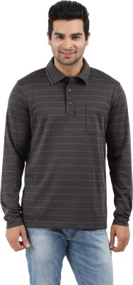 Donz Striped Men's Polo Neck Brown T-Shirt