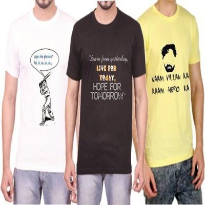 Teeswood Graphic Print Men's Round Neck White, Black, Yellow T-Shirt