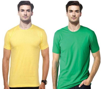 Gallop Solid Men's Round Neck Yellow, Green T-Shirt